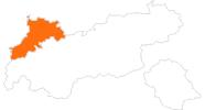 Karte der Attraktionen in der Naturparkregion Reutte