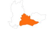 Karte der Ausflugsziele in Surrey, East und West Sussex