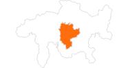 Karte der Ausflugsziele in Savognin Bivio Albula