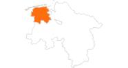 Karte der Ausflugsziele in Ostfriesland