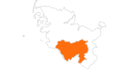 Karte der Ausflugsziele im Binnenland