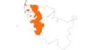 Karte der Sehenswürdigkeiten an der Nordsee (Schleswig-Holstein)