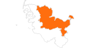 map of all tourist attractions at the Baltic Sea and Holstein Switzerland