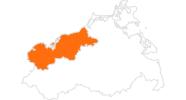 Karte der Ausflugsziele an der Ostseeküste Mecklenburg