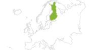 Karte der Radtouren in Finnland