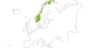 Karte der Radtouren in Norwegen