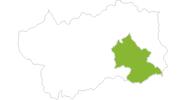 Karte der Radtouren im Hauptal und Mont Avic