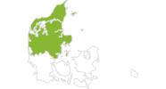 Karte der Radtouren in Nord- und Mitteljütland