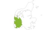 Karte der Radtouren in Westjütland
