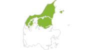 Karte der Radtouren in Nordjütland