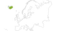 Karte der Radtouren auf Island