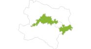 Karte der Radtouren in Donau Niederösterreich