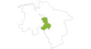Karte der Radtouren in Mittelweser