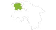Karte der Radtouren in Ostfriesland