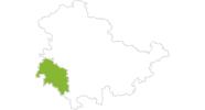 Karte der Radtouren in Rhön (Thüringen)