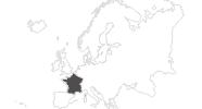 Karte der Reiseziele in Frankreich