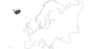 Karte der Reiseziele auf Island