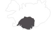 Karte der Reiseziele in Südisland
