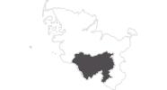 Karte der Reiseziele im Binnenland