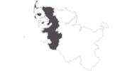 Karte der Reiseziele an der Nordsee (Schleswig-Holstein)