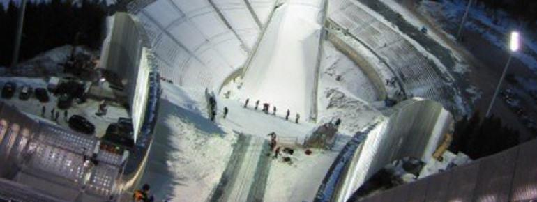 Blick von der Holmenkollen Skisprungschanze in Oslo