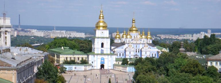 Blick auf die Stadt Kiew mit der St. Michaels-Kathedrale